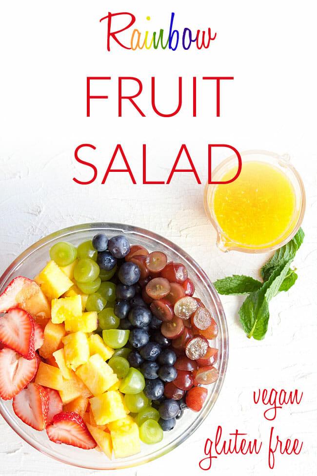 Vegan Fruit Salad photo with text.