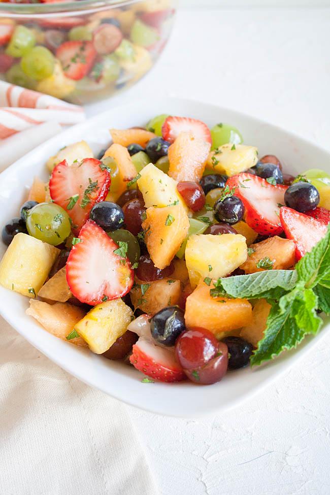 Rainbow Fruit Salad close up.