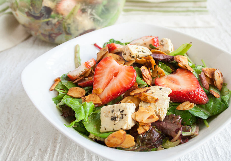 Strawberry and Feta Salad close up.