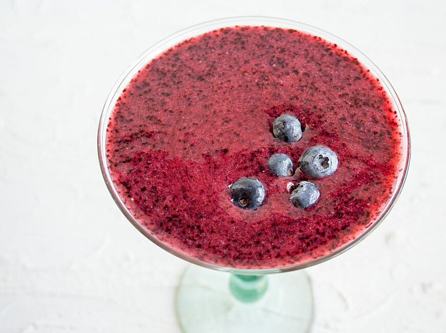 Frozen Blueberry Daiquiri bird's eye view.