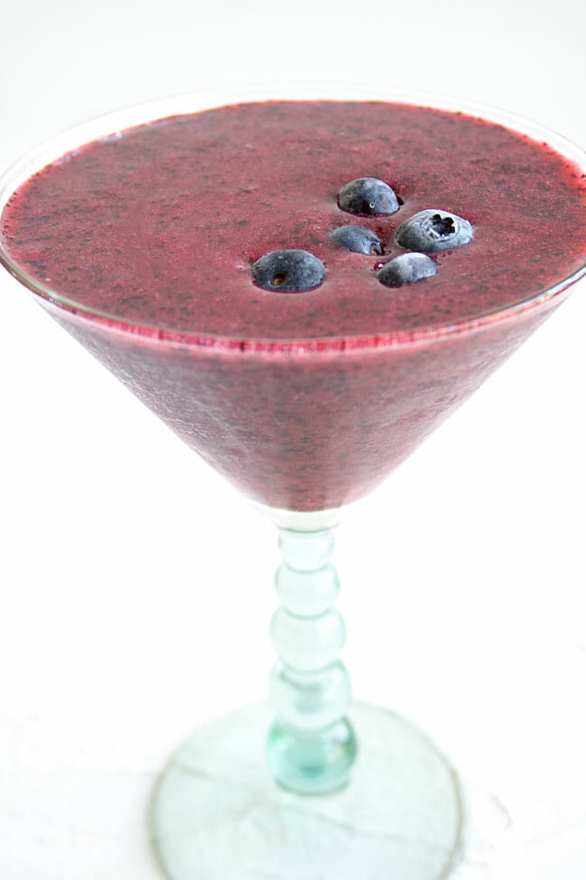 Frozen Blueberry Daiquiri close up.