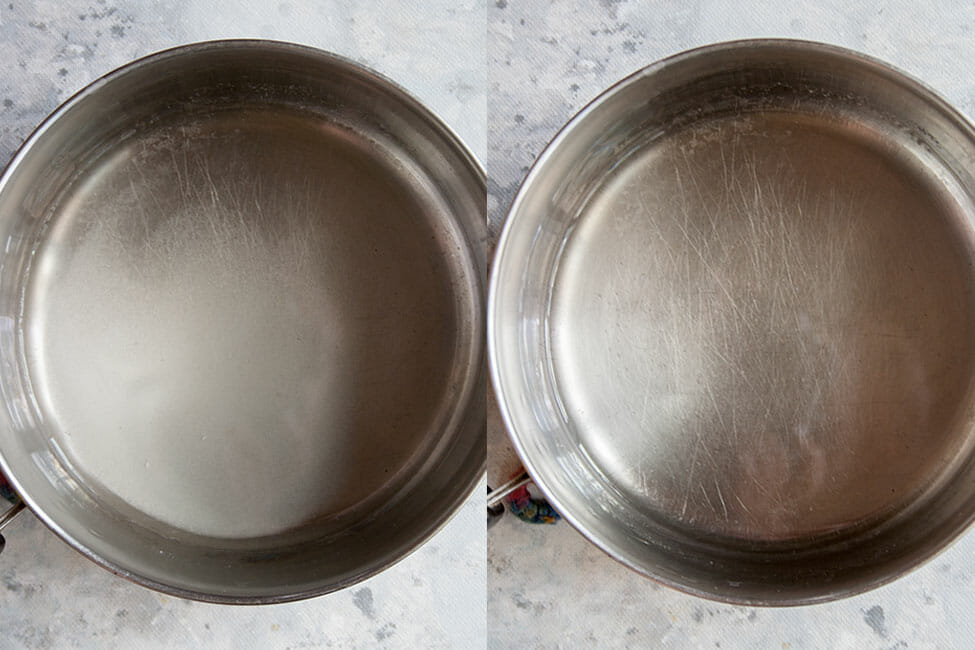 Simple syrup in a pan.