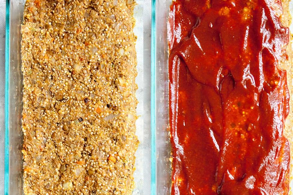 Lentil Loaf in a baking dish before glaze and after glaze.