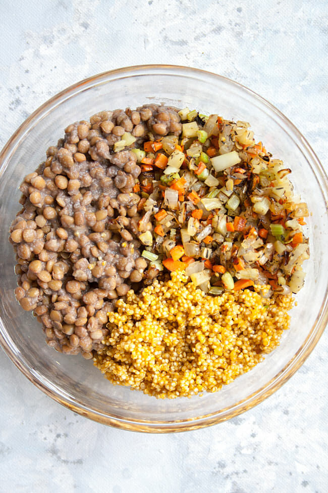 Lentils, quinoa, and mirapoix in a bowl.