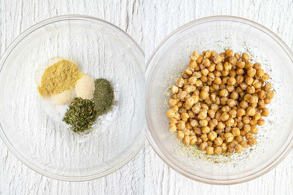Ranch seasoning in a bowl and crispy roasted chickpeas in another bowl.