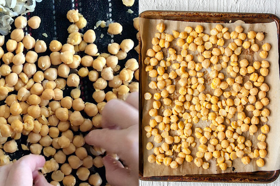 Chickpeas being dried and on sheet pan before roasting.