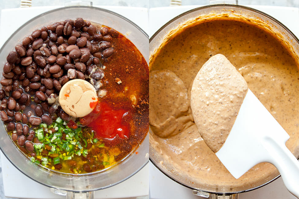 Black Bean Hummus ingredients in a food processor before and after being mixed. (Two photos)