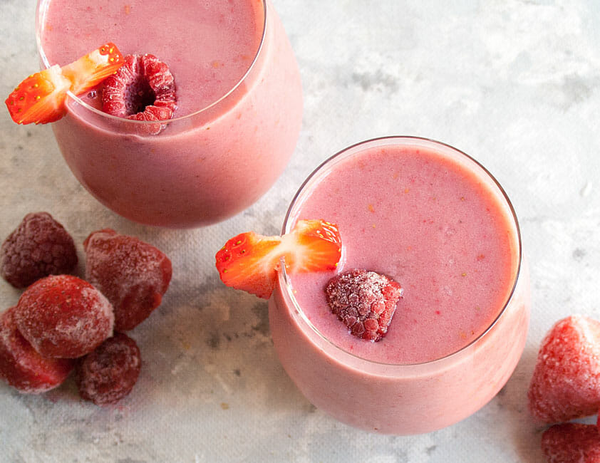 Vegan Smoothie with raspberries and strawberries.