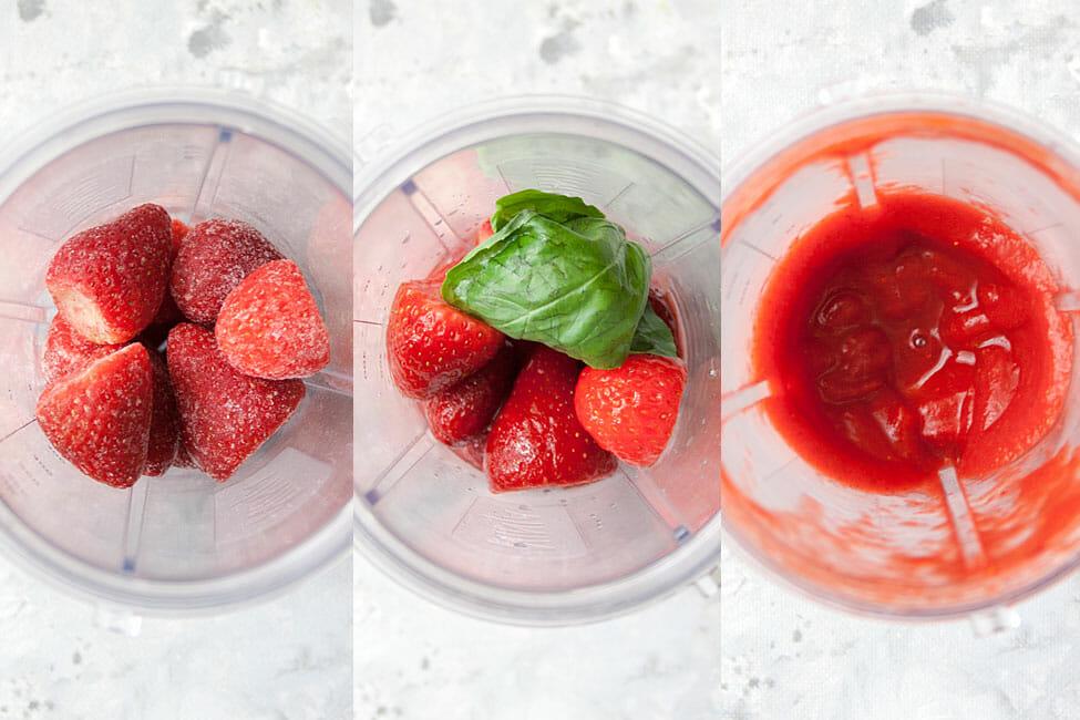 Frozen strawberries in blender left photo. Middle: strawberries and basil. Right: strawberry basil daiquiri after mixing.