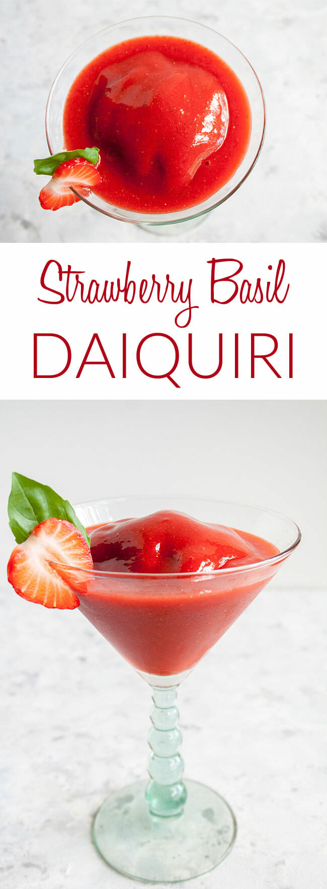 Frozen Strawberry Daiquiri collage photo with text.