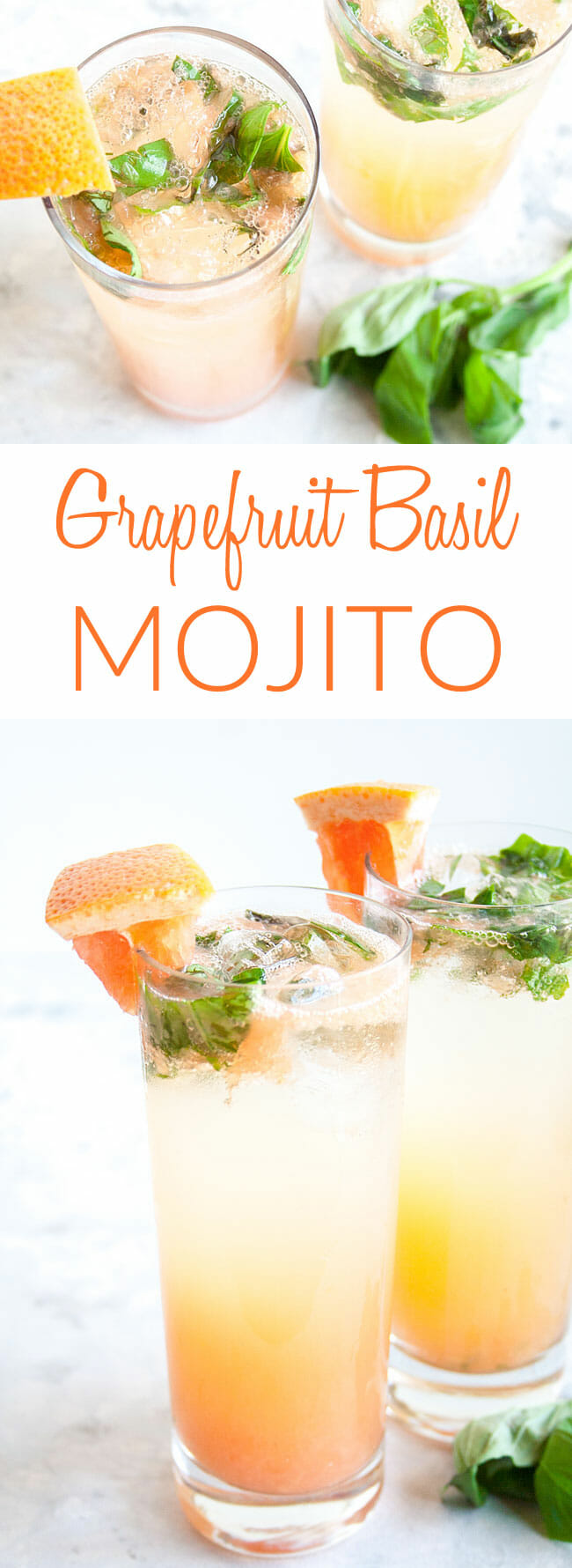 Grapefruit Basil Mojito collage photo with text.