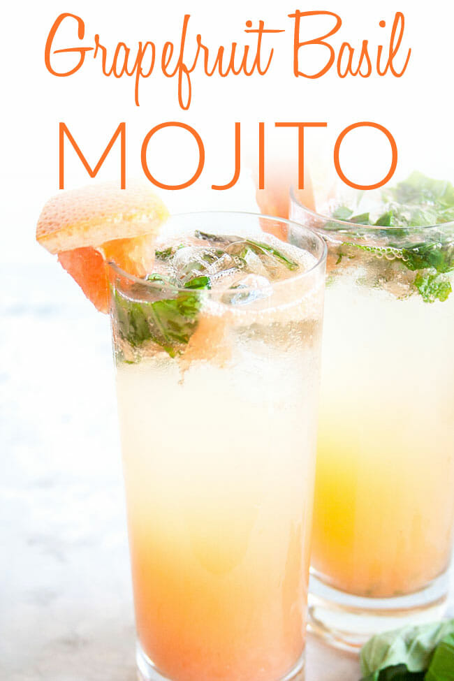 Grapefruit Basil Mojito photo with text.