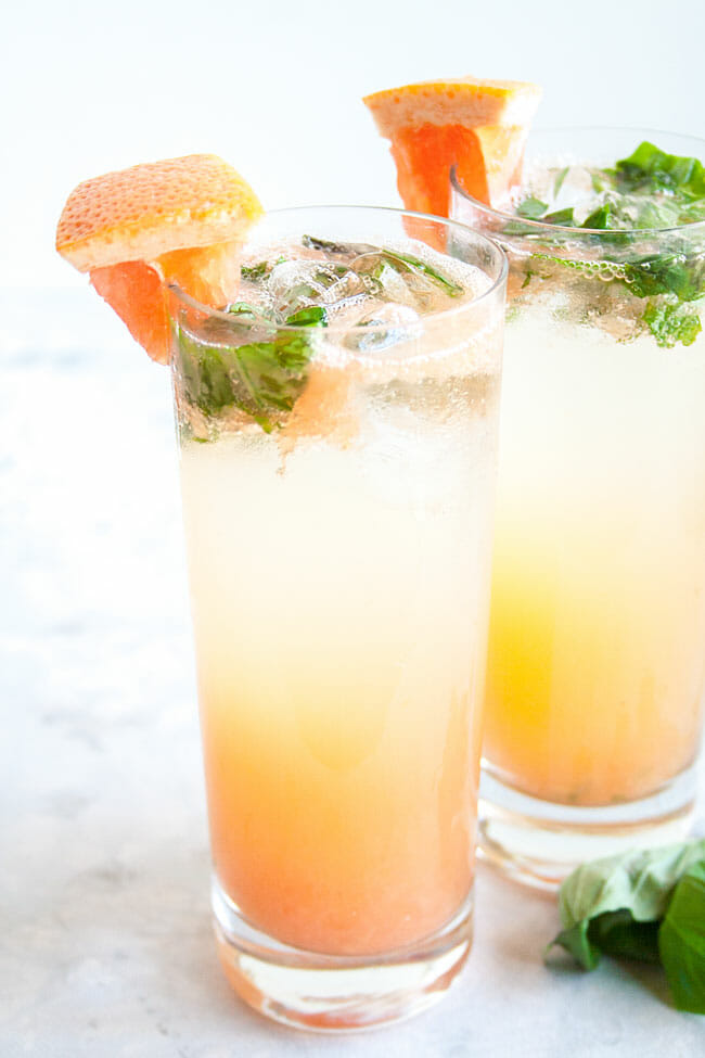 Grapefruit Basil Mojito close up.
