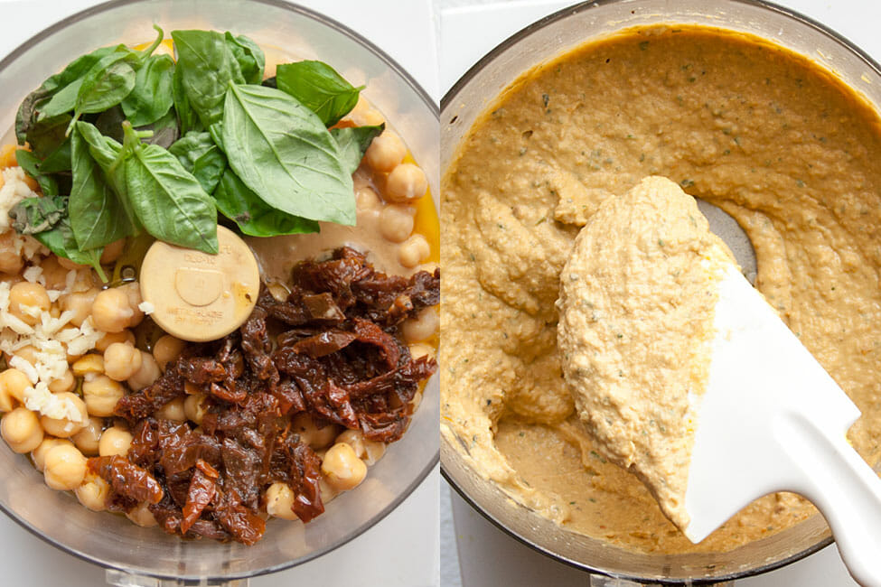 Hummus ingredients in a food processor.