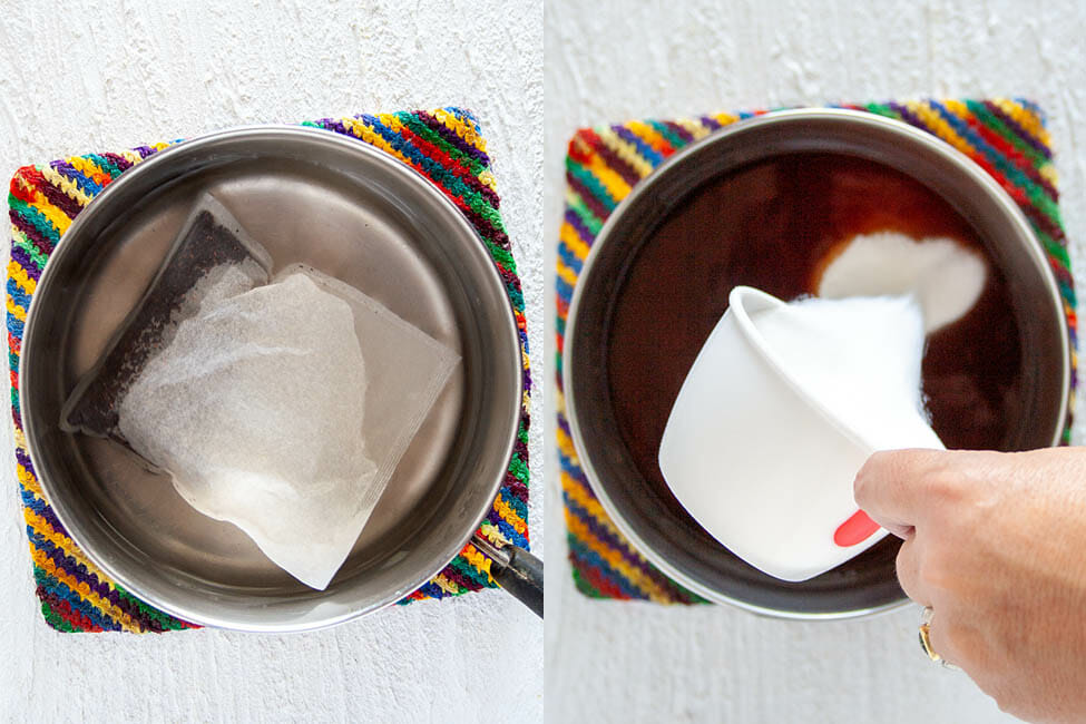 Left photo: boiled water in a pan with a large tea bag sitting in it. Right photo: sugar being poured into the pan with the tea.