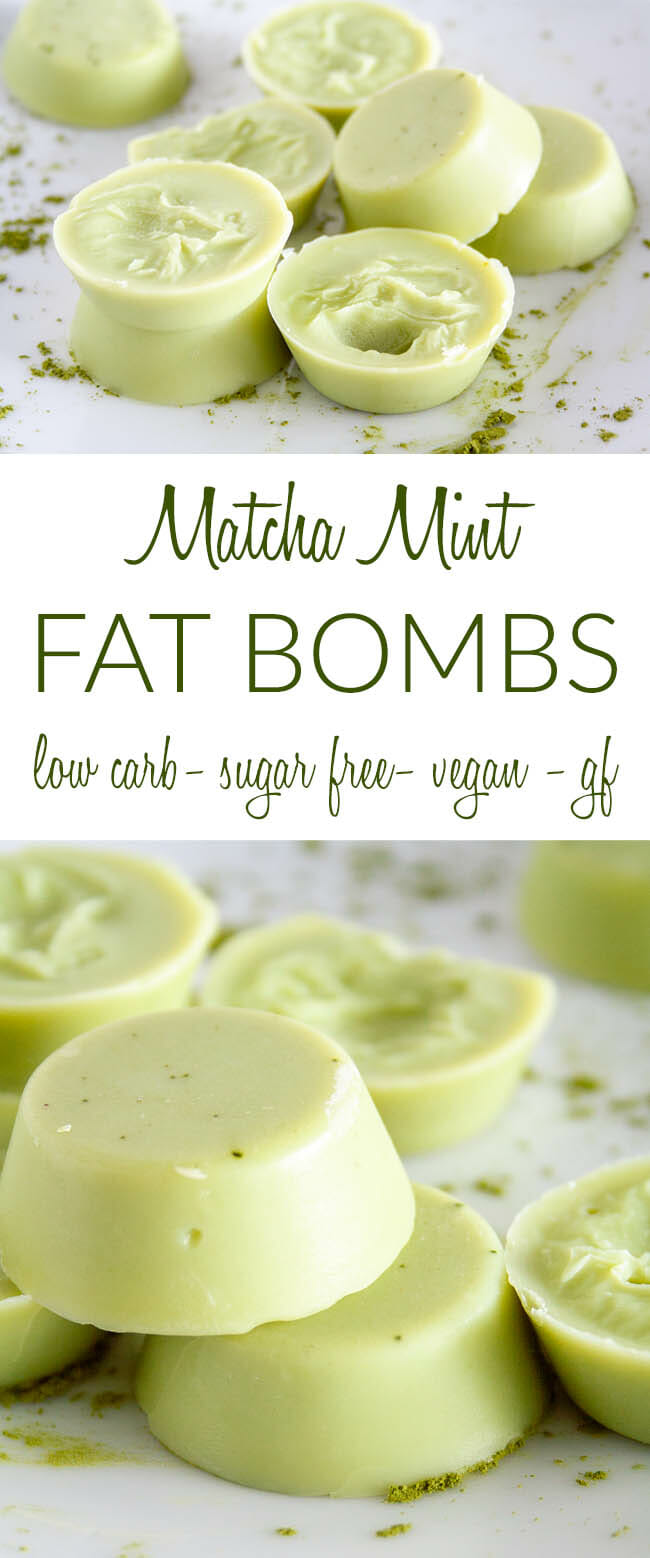 Matcha Mint Fat Bombs collage photo with text.