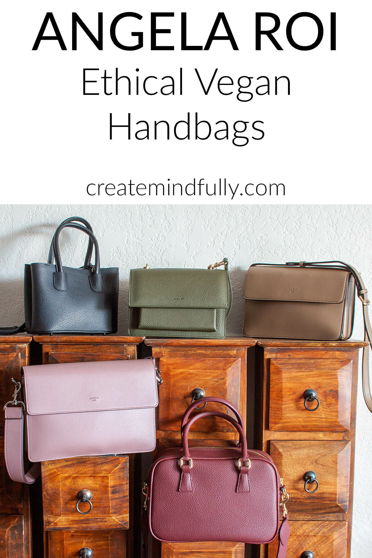 """Angela Roi ethical vegan handbags"" written on photo of 5 purses"