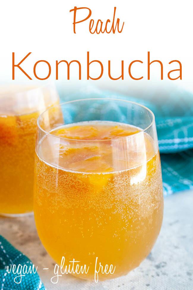 Peach Kombucha photo with text.