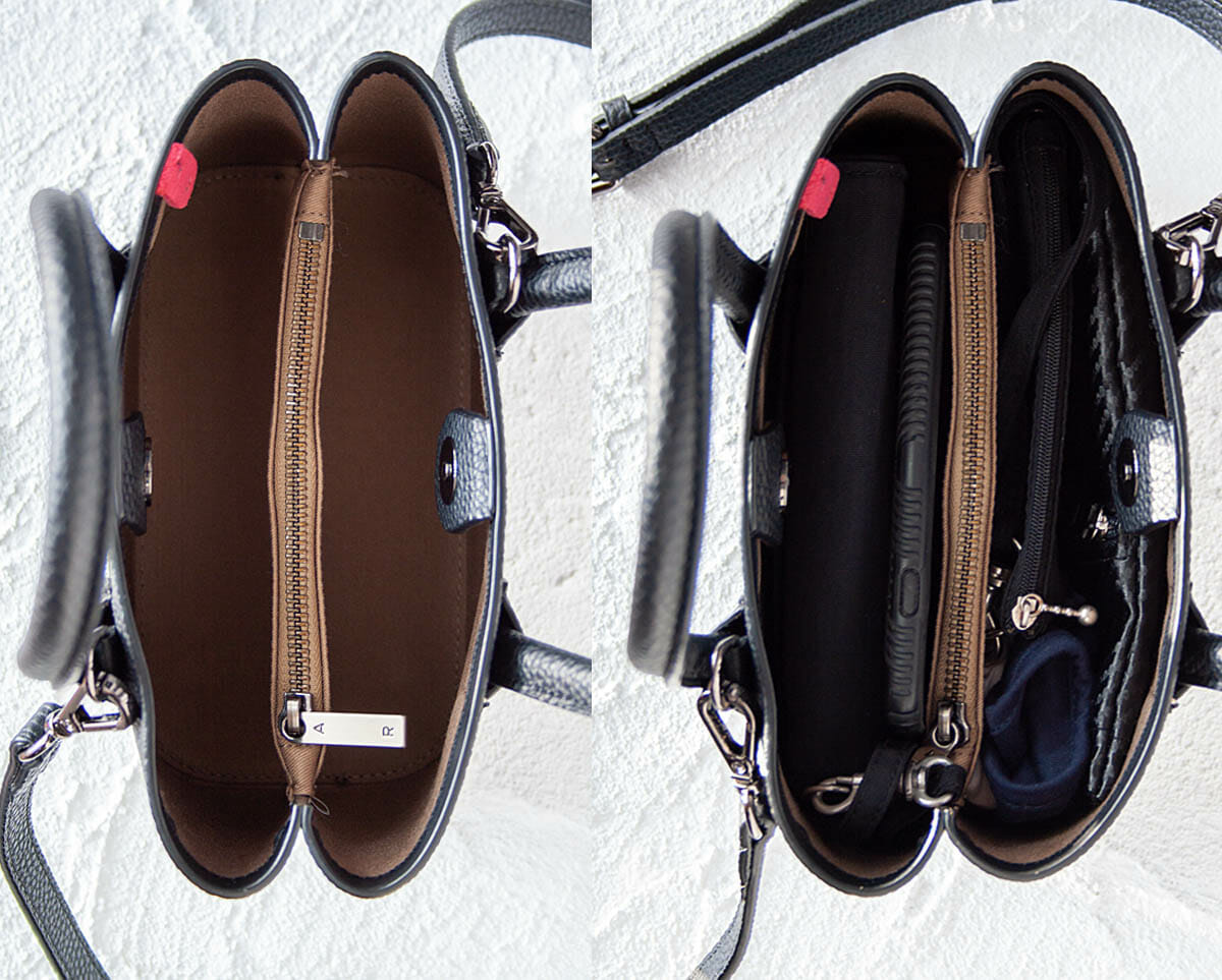 Bird's eye view of Cher Micro. One photo showing it empty, and one showing it full with wallet, iPhone, mask, sunglasses case, and small pouch.