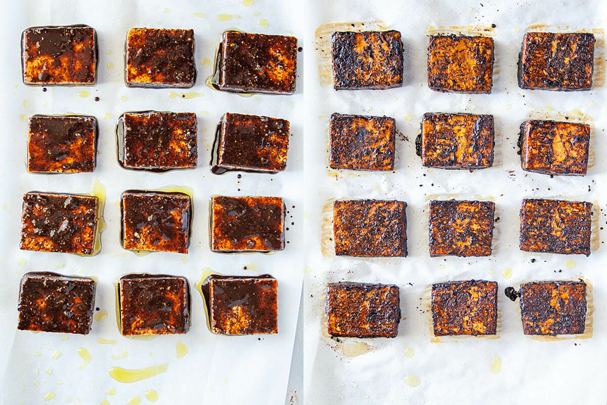 Balsamic Tofu on a baking sheet before and after baking.