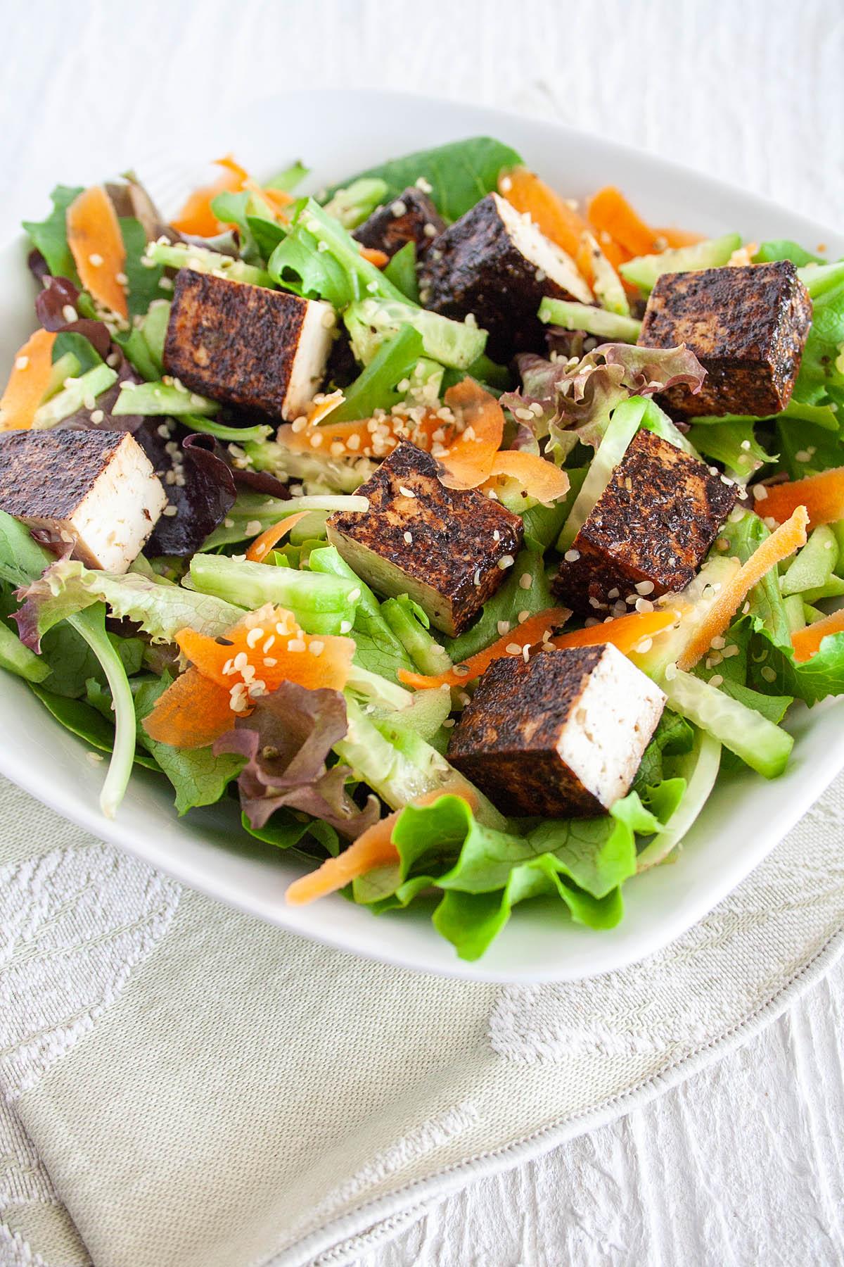 Balsamic Tofu on a salad.