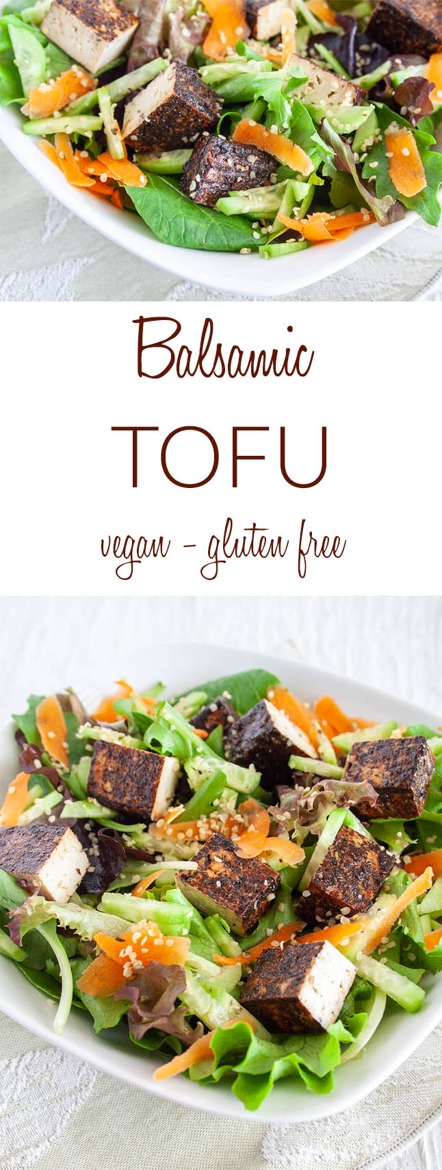 Balsamic Tofu collage photo with text.