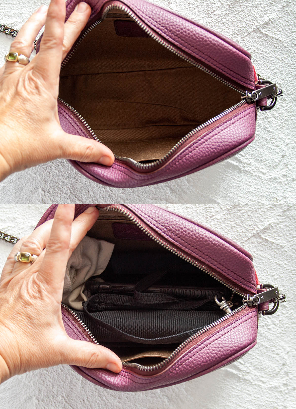 Grace Mini Crossbody showing the inside empty (top photo) and full (bottom photo).