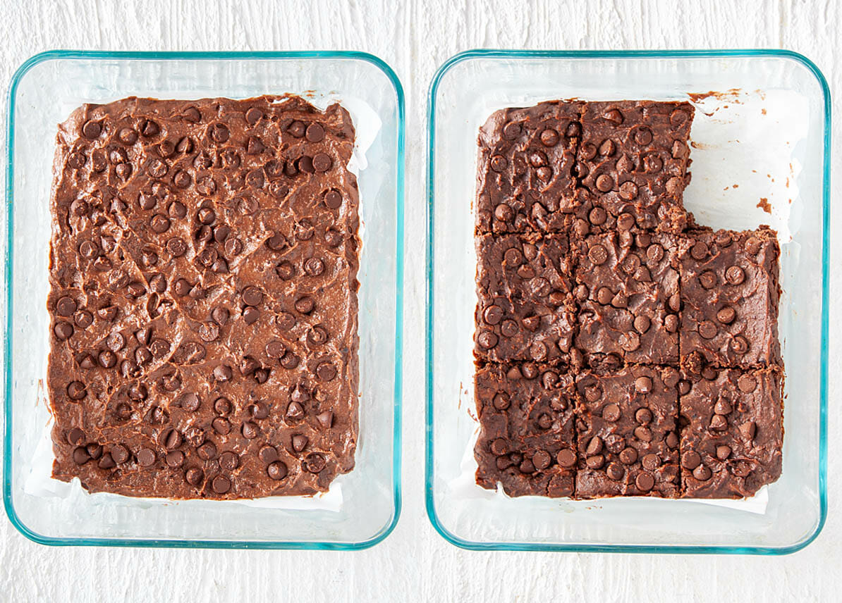 Vegan Black Bean Brownies in baking dish before and after baking.