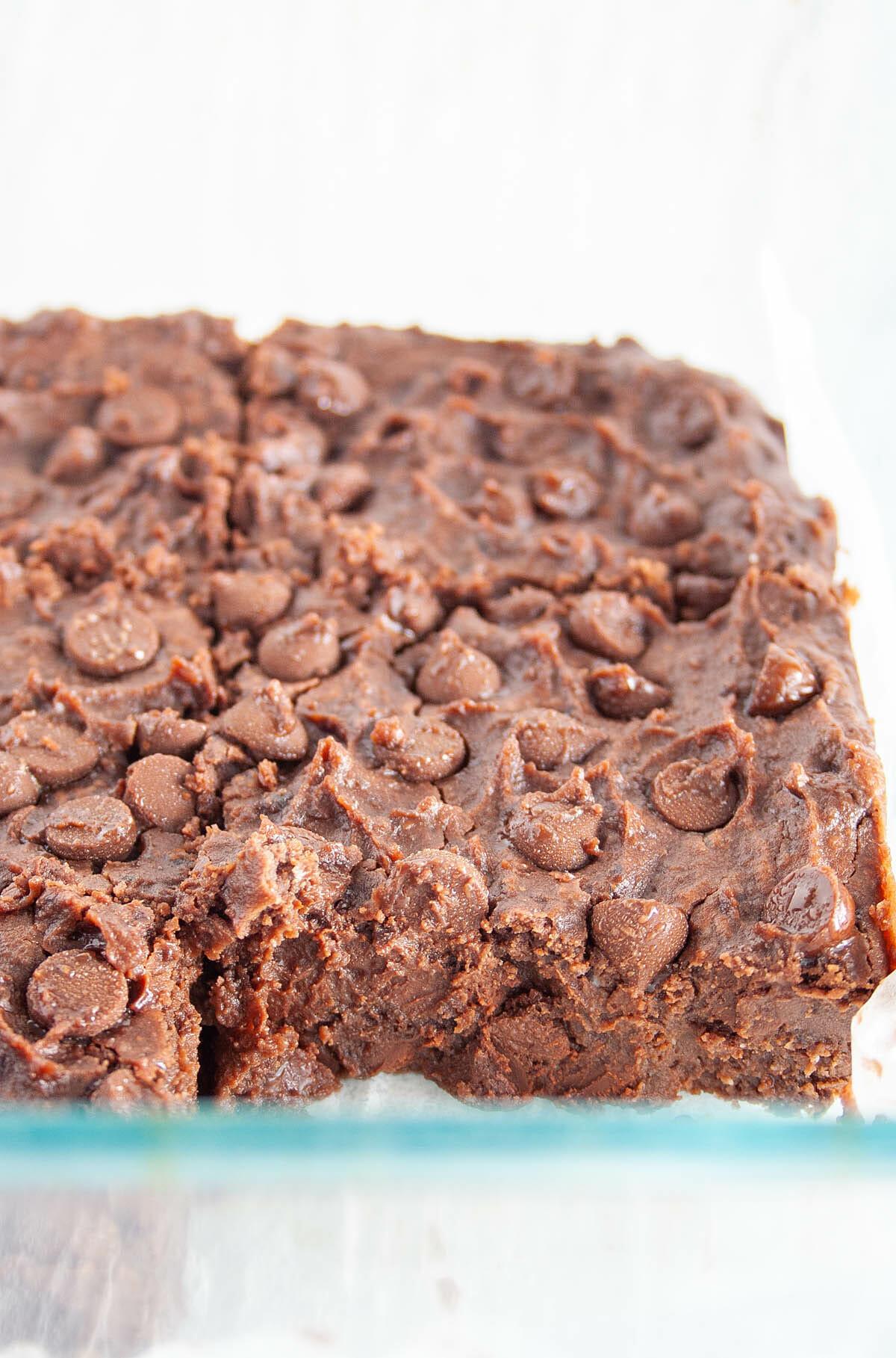 Vegan Black Bean Brownies in baking dish.