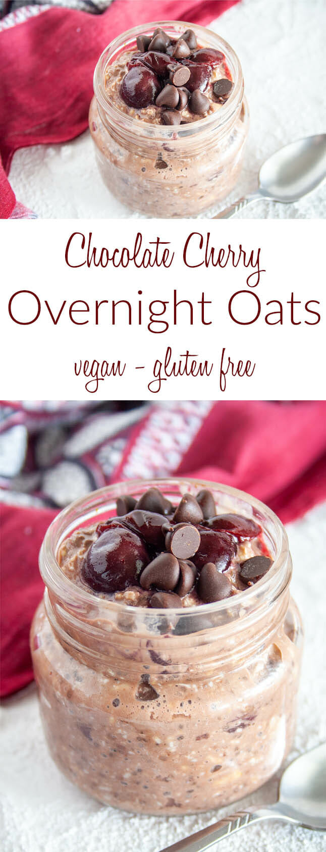 Chocolate Cherry Overnight Oats collage photo with text.