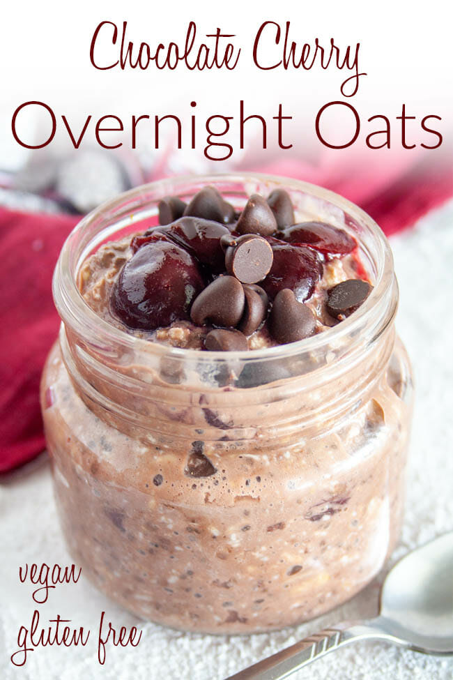 Chocolate Cherry Overnight Oats photo with text.