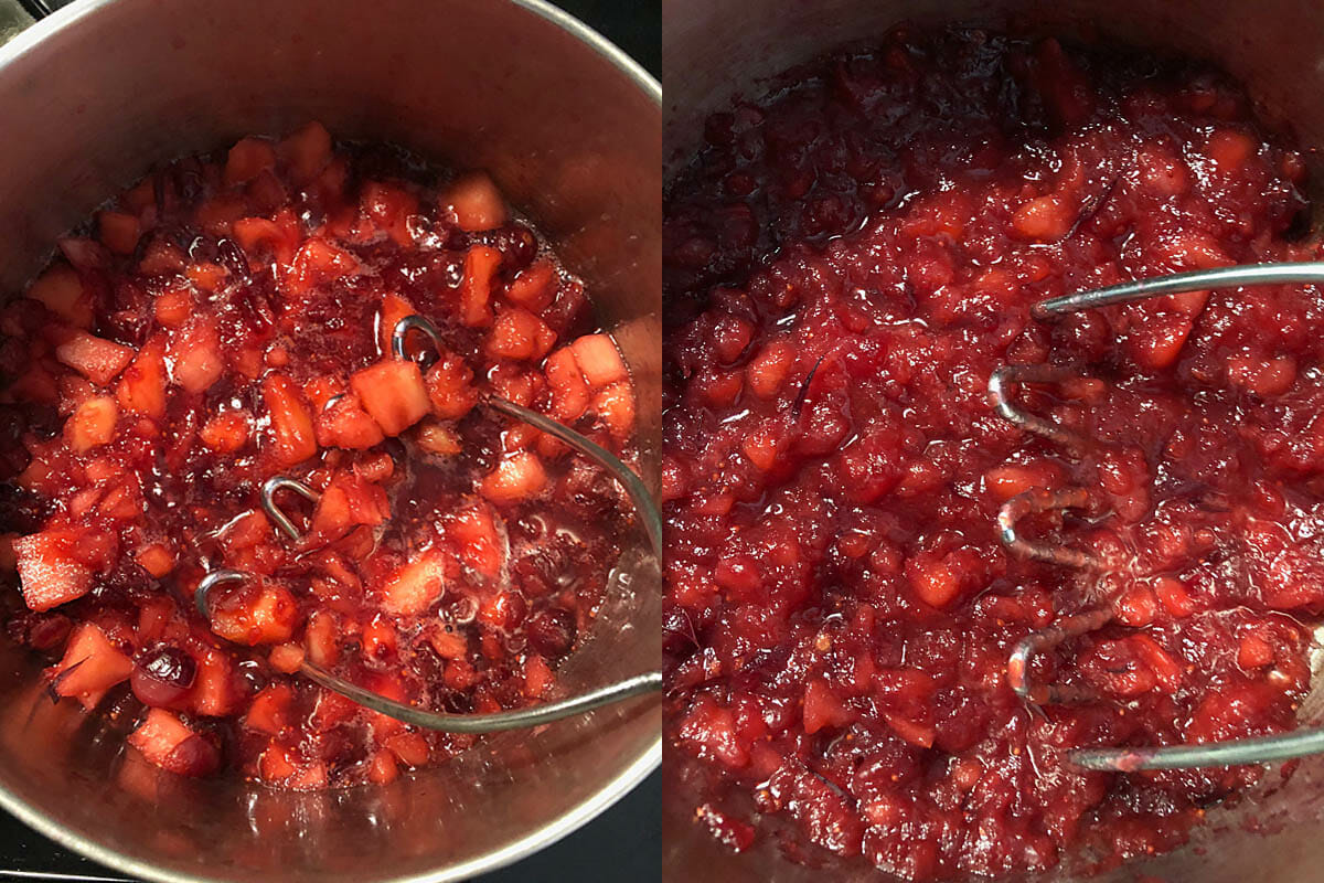 Chopped apples and cranberries simmering and being mashed at two stages of the cooking.