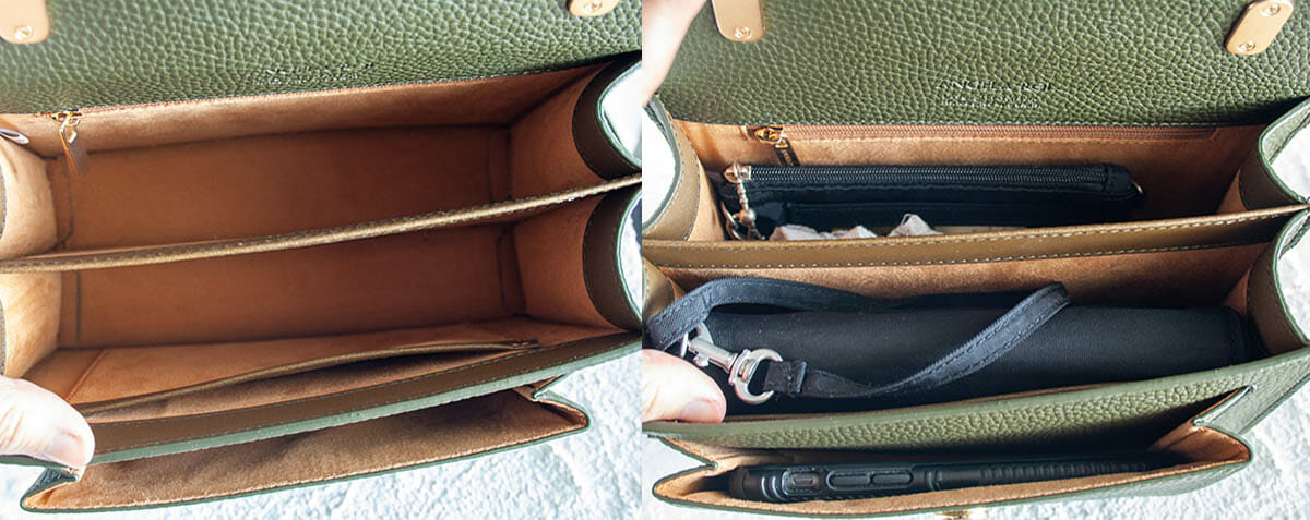 Inside view of Eloise Satchel empty and with essentials.