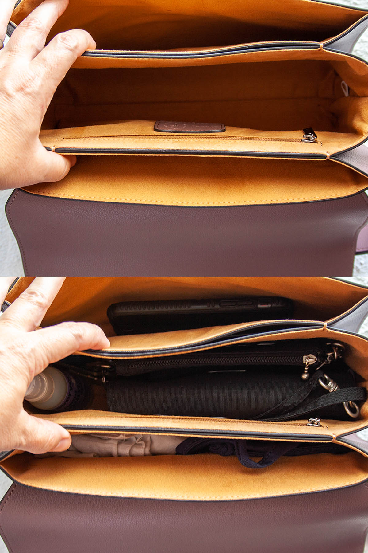 Inside of Hamilton Shoulder Bag both empty and with contents.