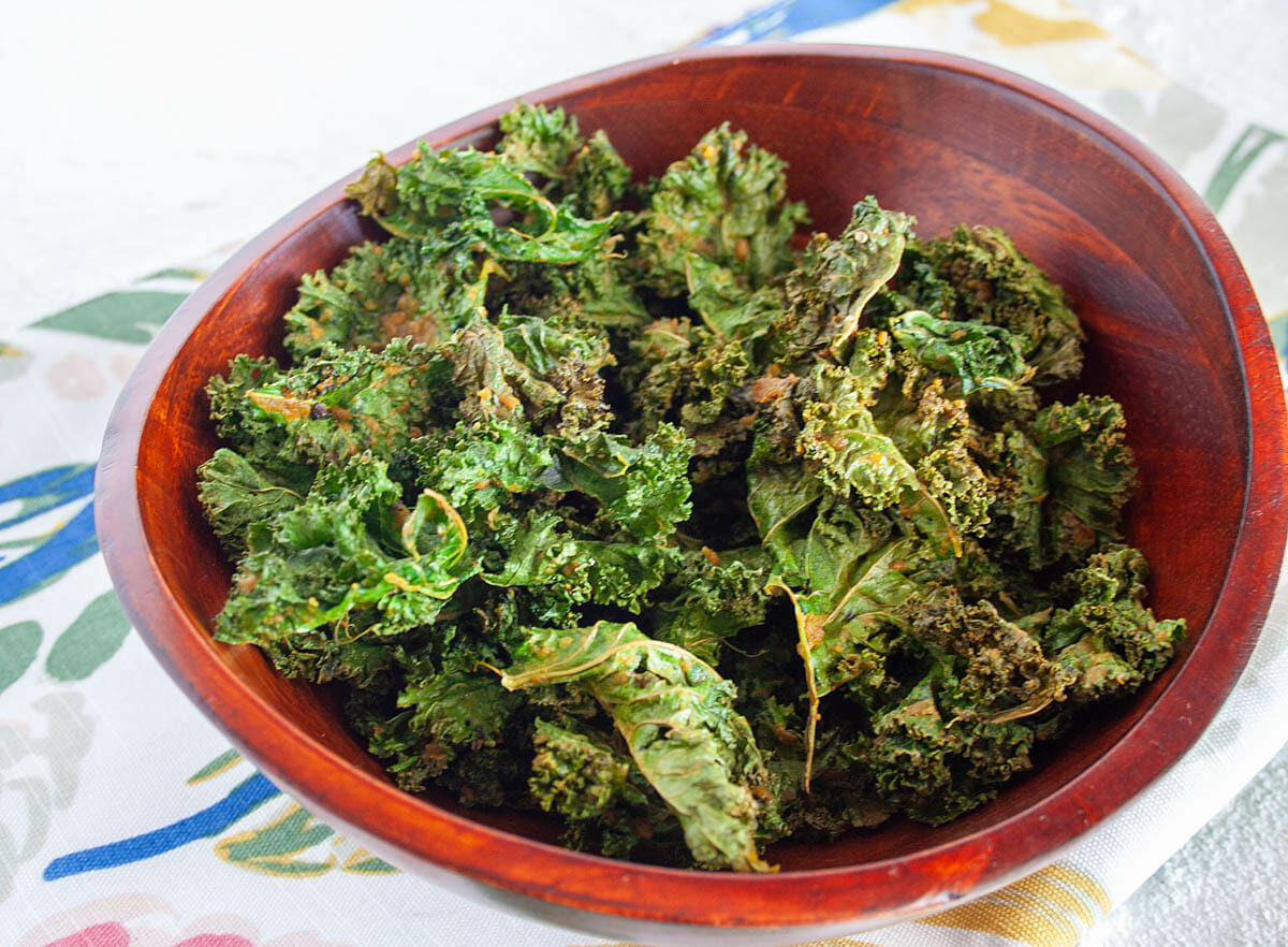 Kale Chips with Nutritional Yeast close up.