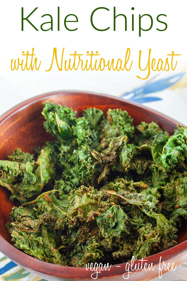 Kale Chips with Nutritional Yeast photo with text.
