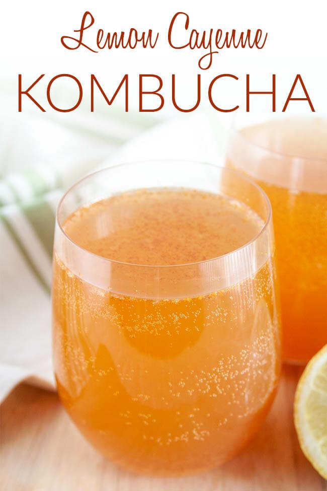 Lemon Cayenne Kombucha photo with text.