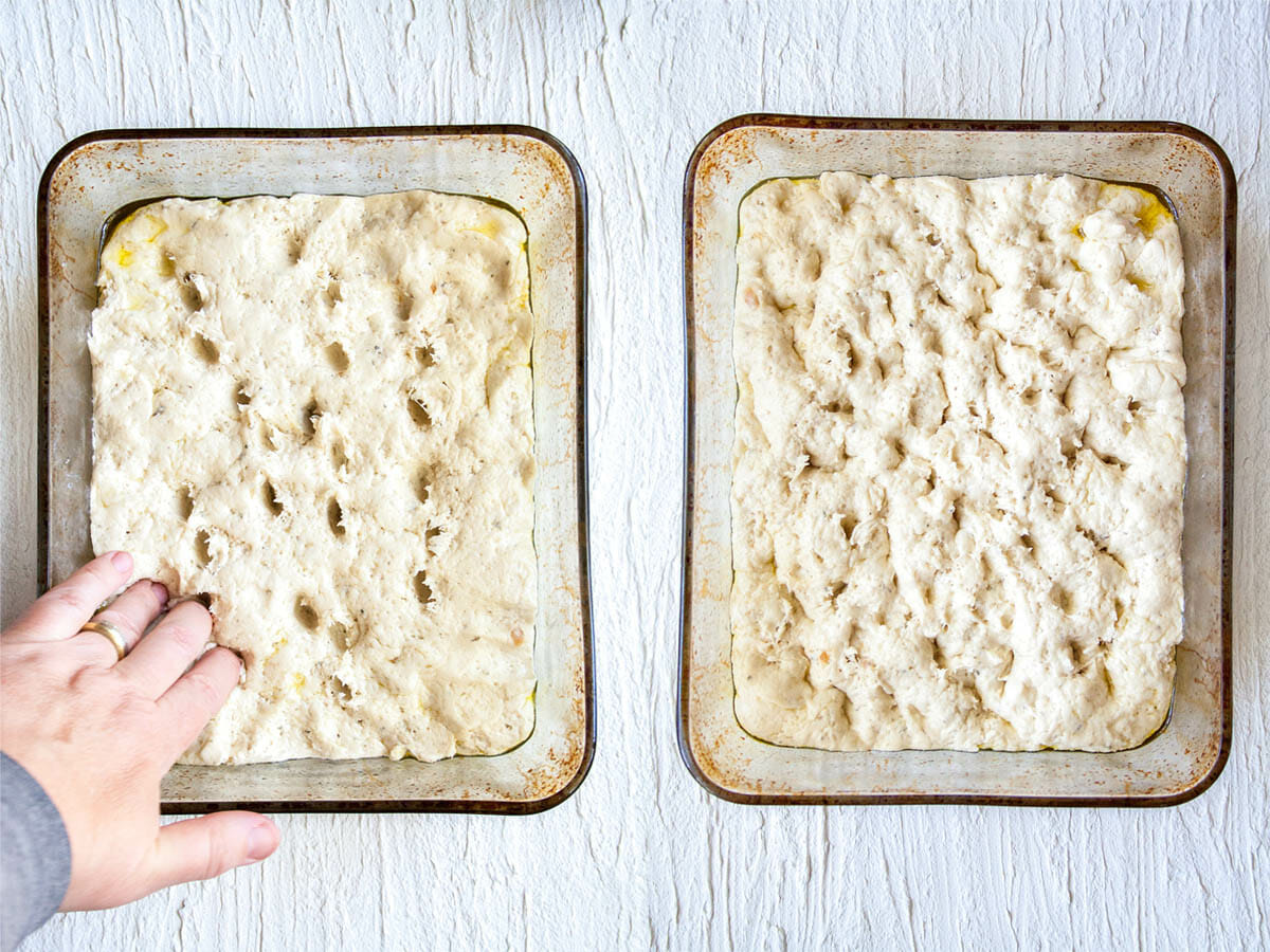 Roasted Garlic Focaccia getting dimples left side and with dimples right side.