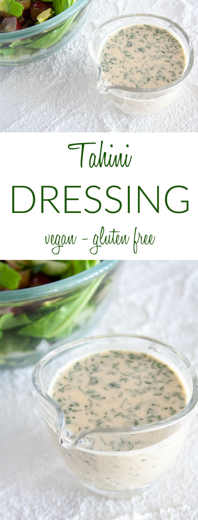 Tahini Dressing collage photo with text.