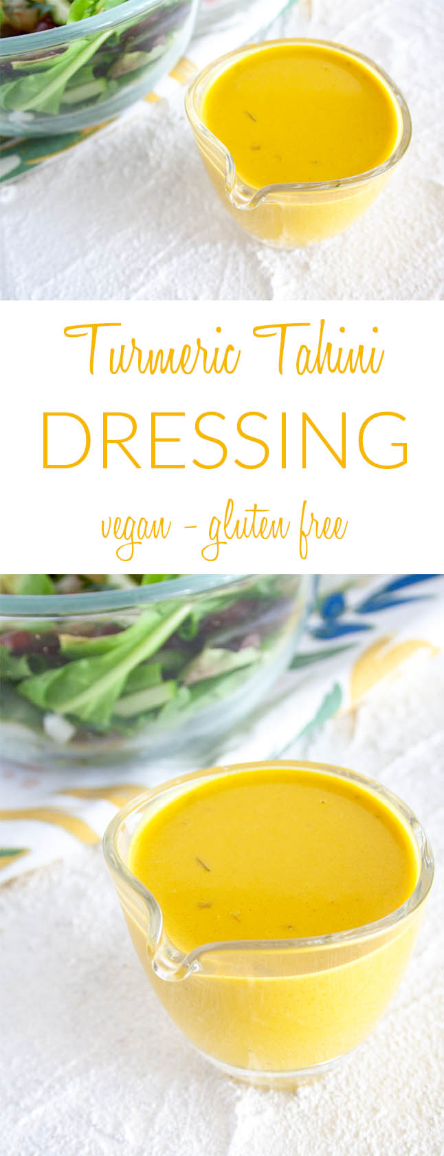 Turmeric Tahini Dressing collage photo with text.
