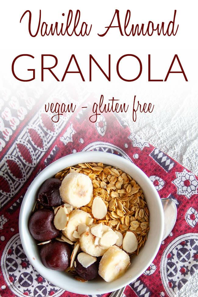 Vanilla Almond Granola photo with text.