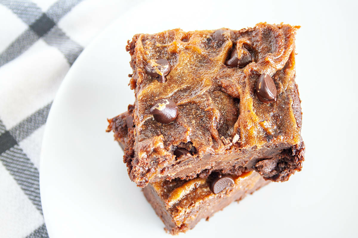 Vegan Peanut Butter Swirl Brownies close up.