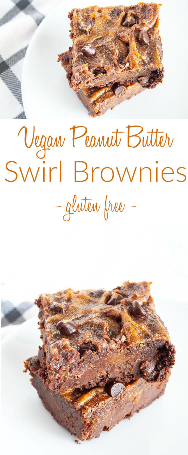 Vegan Peanut Butter Swirl Brownies collage photo with text.