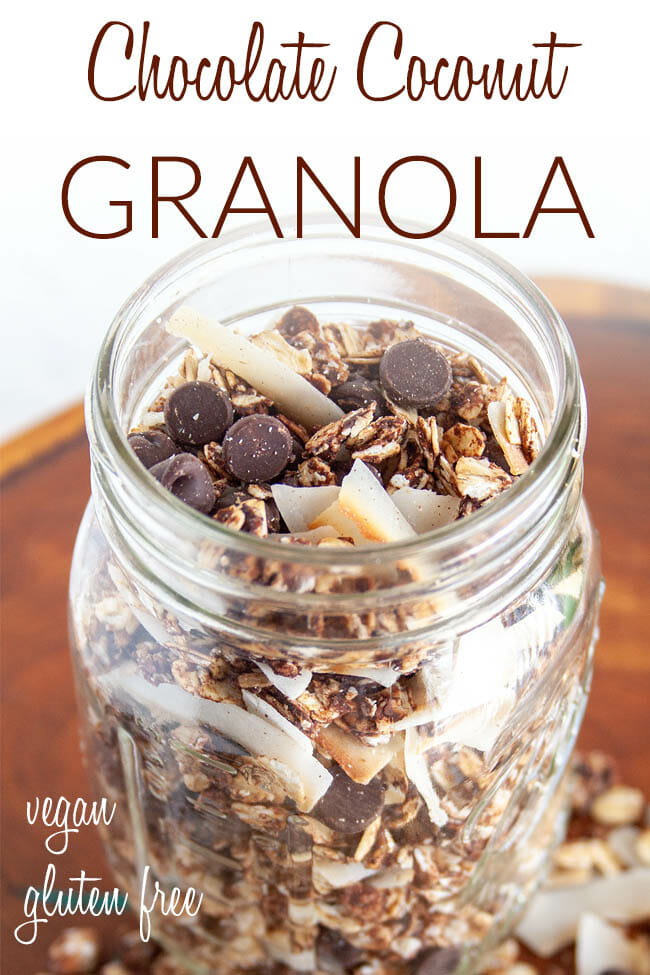 Chocolate Coconut Granola photo with text.