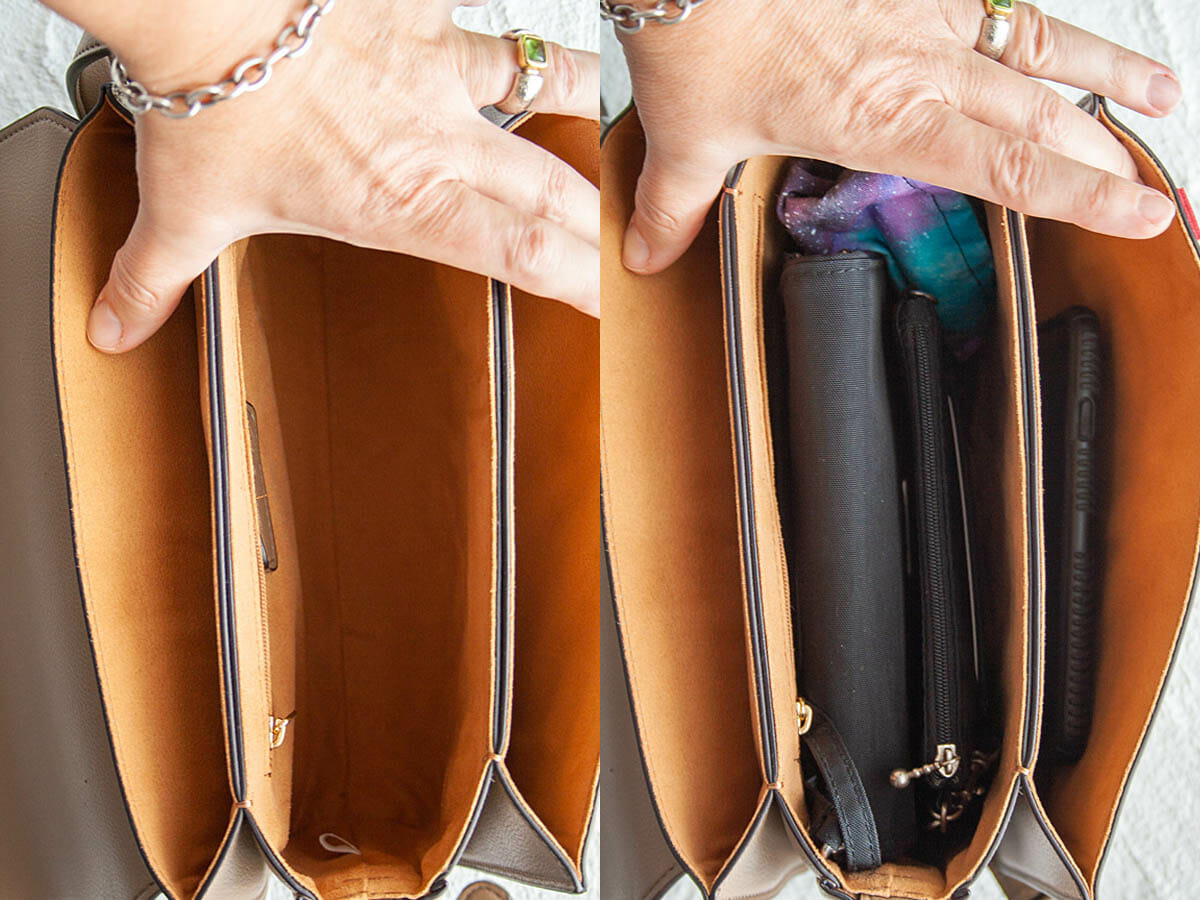 Inside of Angela Roi Hamilton Crossbody both empty and with contents.
