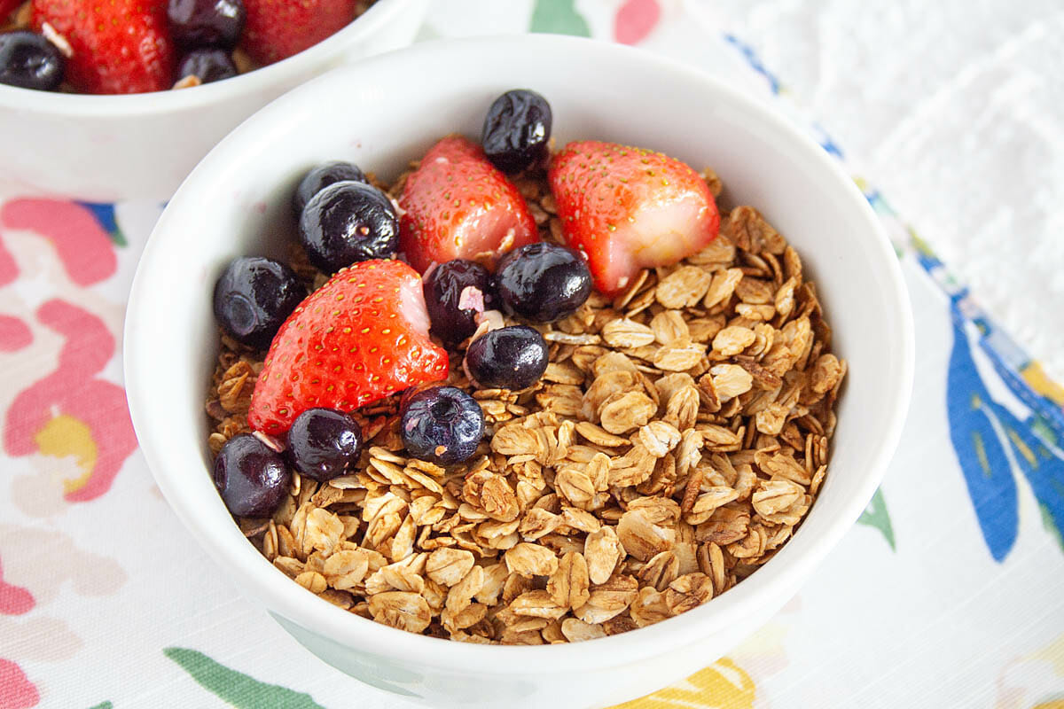 Maple and Molasses Granola in bowl close up.