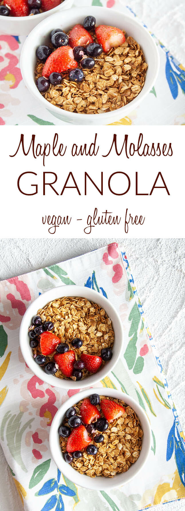 Maple and Molasses Granola collage photo with text.