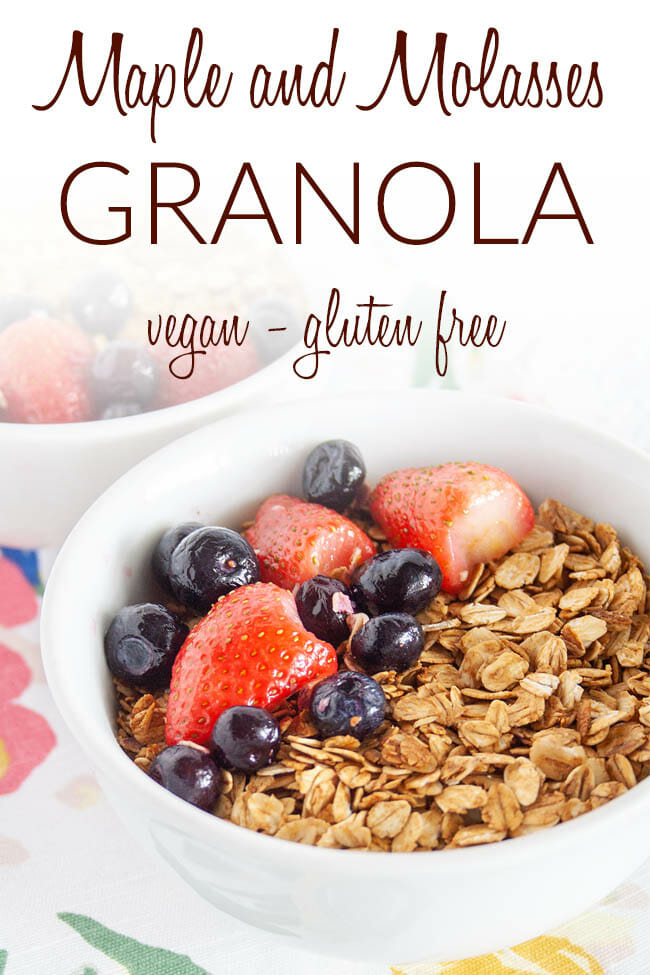 Maple and Molasses Granola photo with text.