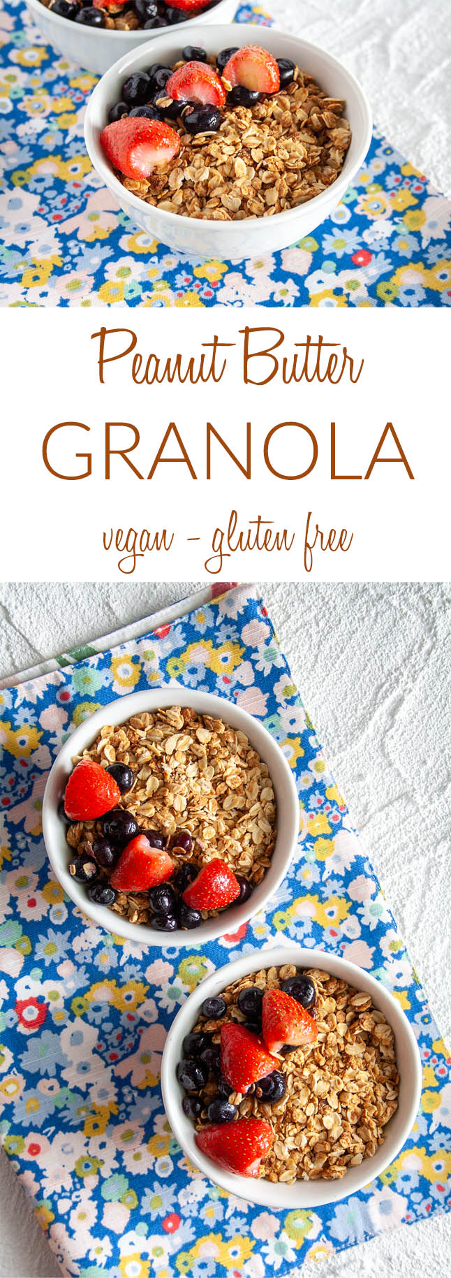 Peanut Butter Granola collage photo with text.