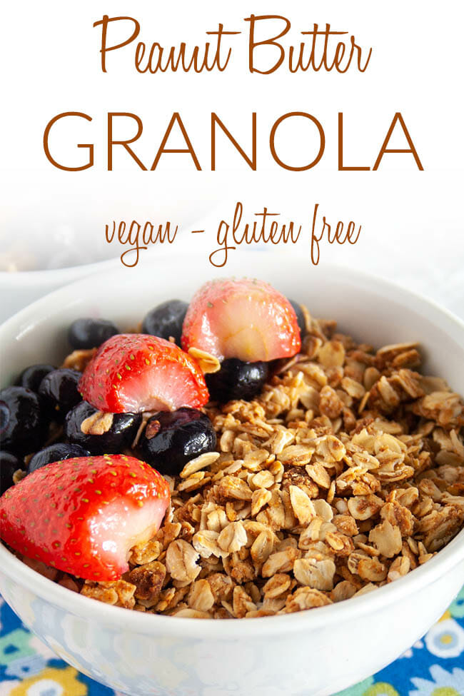 Peanut Butter Granola photo with text.